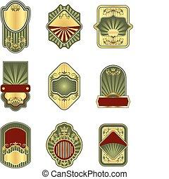 Ein Set alter goldener Etiketten