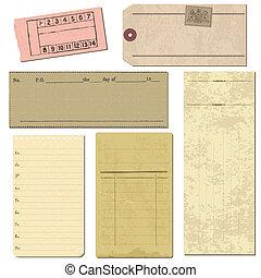 Ein Set alter Papiergegenstände für Design und Sammelalbum im Vektor