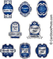 Ein Set alter silberner Etiketten