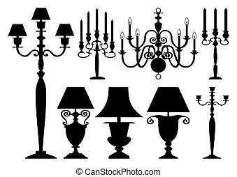 Ein Set antiker Beleuchtung