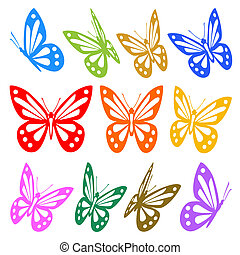 Ein Set bunter Schmetterlinge, Silhouette - Vektorgrafik