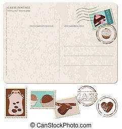 Ein Set Cupcakes auf alte Postkarte, mit Briefmarken - für Design und Sammelalbum