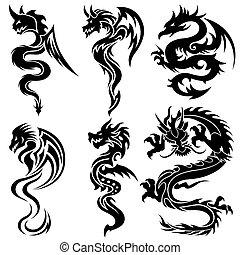 Ein Set der chinesischen Drachen, Stammes