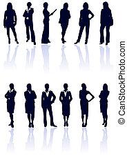 Ein Set dunkler blauer Vektor-Geschäftsfrauen, Silhouette mit Reflexionen. Mehr in meiner Galerie.
