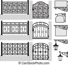 Ein Set Eisen hat Zäune und Tore errichtet