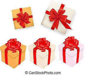 Ein Set Geschenkeboxen mit Bändern. Vektor Illustration.