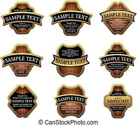 Ein Set goldener Etiketten