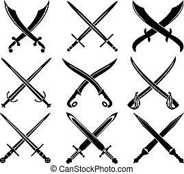 Ein Set heraldischer Schwerter und Säbel