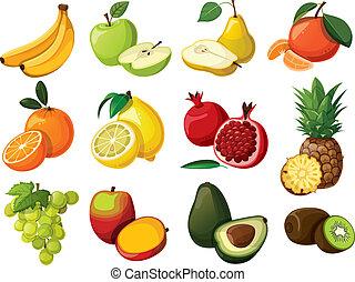 Ein Set köstlicher Früchte. Isoliert