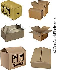 Ein Set Karton Verpackungsschachteln Isola