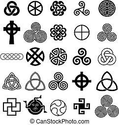 Ein Set keltischer Symbole Ikons Vektor.