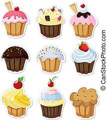 Ein Set leckerer Cupcakes