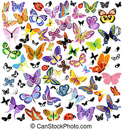 Ein Set Marienkäfer und Schmetterling