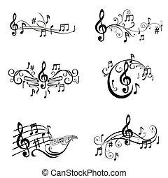 Ein Set musikalischer Illustrationen - im Vektor