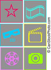 Ein Set neonfarbener Kino-Ikonen