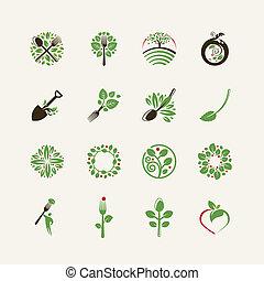 Ein Set organischer Lebensmittel-Ikonen