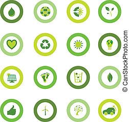 Ein Set runder Ikonen, gefüllt mit Bio-Umweltsymbolen
