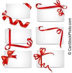 Ein Set schöner Karten mit rotem Kiesel