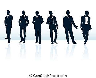 Ein Set schwarzer Vektor-Geschäftsführer-Silhouette in Anzügen. Mehr in meiner Galerie. Es sind dunkelblaue Vektoren, Geschäftsleute in Anzügen. Mehr in meiner Galerie.