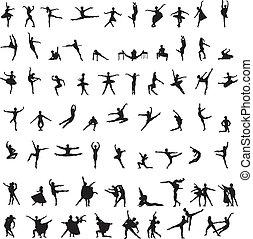 Ein Set Silhouettes von Balletttänzer