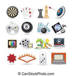 Ein Set Unterhaltungs-Ikonen