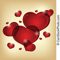Ein Set valentiner Herzen