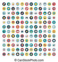 Ein Set Vektornetz und soziale Medien-Ikonen. Flache Ikone
