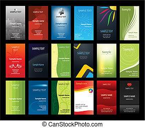 Ein Set verikaler Visitenkarten
