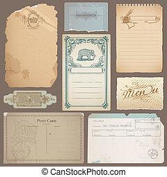 Ein Set verschiedener klassischer Papiere, Karten und alter Notizen in Vektor