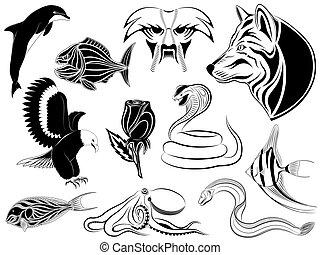 Ein Set verschiedener Tattoos