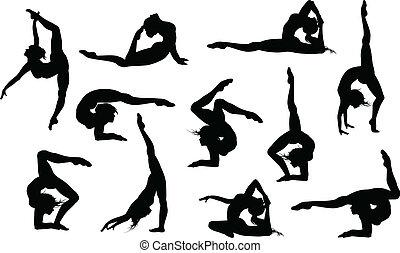 Ein Set von 11 Yoga Asanas Silhouette