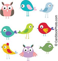 Ein Set von einem anderen süßen Vogel Cartoon