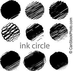 Ein Set von Grunge-Vektoren-Kreisstrichen (individuelle Objekte).
