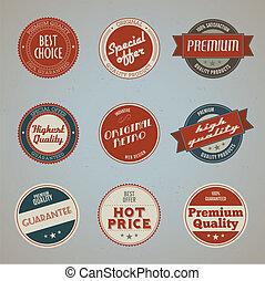 Ein Set von hochwertigen Etiketten