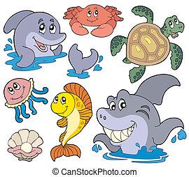 Ein Set von Meerestieren