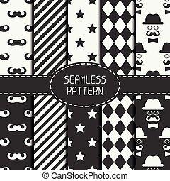Ein Set von monochromen Hipster Fashion Geometri nahtlose Muster mit Schnurrbart. Sammlung von Papier für Scrapbook. Vector Hintergrund. Tiling. Stilvolle grafische Textur für Ihr Design, Tapete, Muster füllt.