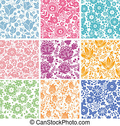 Ein Set von neun abstrakten Blumen, nahtlosem Hintergrund