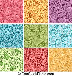 Ein Set von neun farbenfrohen Blumen, nahtlosem Hintergrund