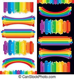 Ein Set von Regenbogendesign-Elementen. Vektorensammlung
