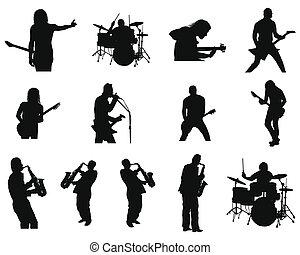 Ein Set von Rock und Jazz-Silhouette