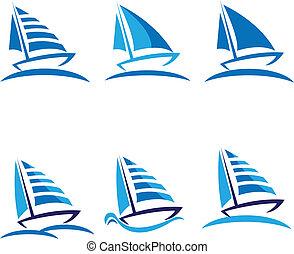 Ein Set von Schiffsvektorlogos