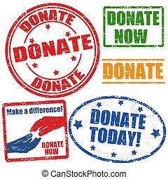 Ein Set von Spendenmarken