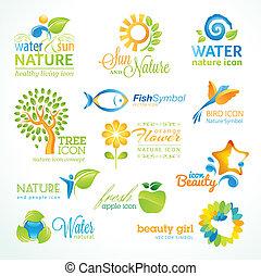 Ein Set von Vektor-Natur-Ikonen