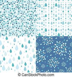 Ein Set von vier Regentropfen nahtlosem Hintergrund