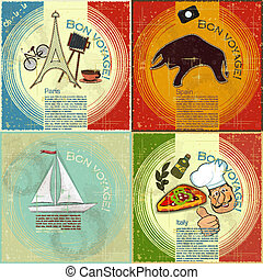 Ein Set von Vintage-Ticket - französisches, italienisches und spanisches Thema - Grunge-Stil-Karte - Vektor illustriert