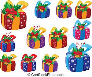 Ein Set von Weihnachtsgeschenken