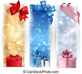 Ein Set von Winter-Weihnachts-Bannern illustriert