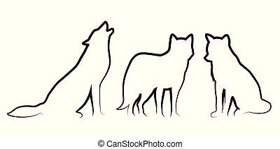 Ein Set von Wolfshundleinen-Silhouette.