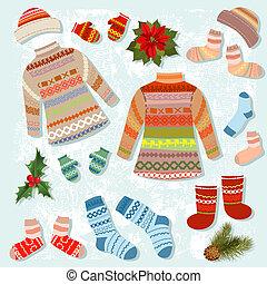 Ein Set warmer Winterkleidung