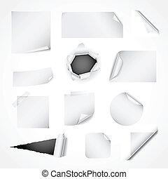 Ein Set weißer Papiermuster